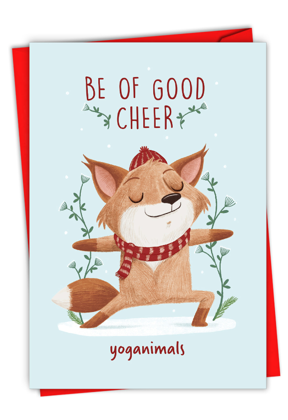 Holiday Yoganimals-Fox: Hysterical Merry Christmas Greeting Card