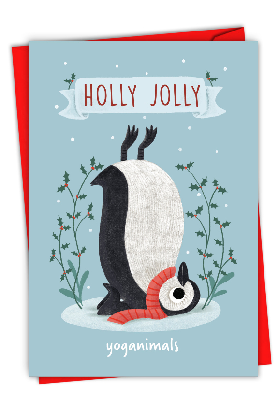 Holiday Yoganimals-Penguin: Funny Merry Christmas Paper Card