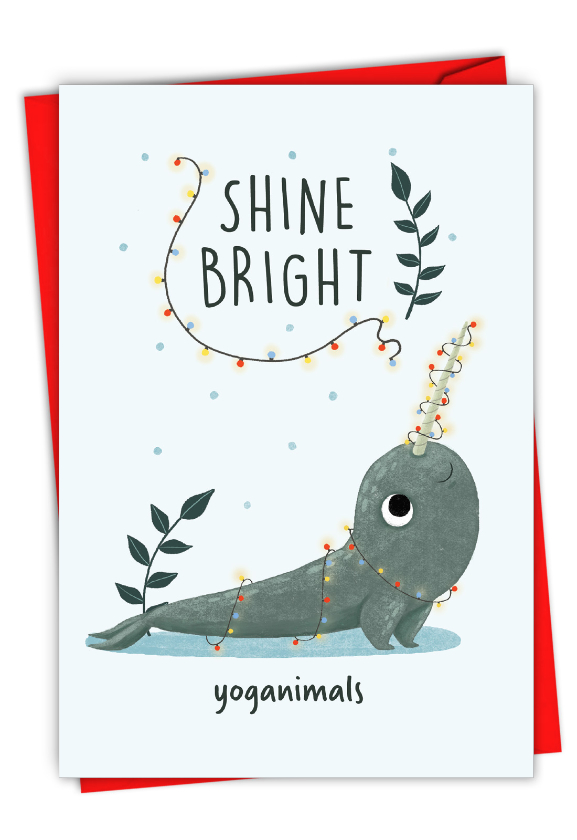 Holiday Yoganimals-Narwhal: Hilarious Merry Christmas Printed Card