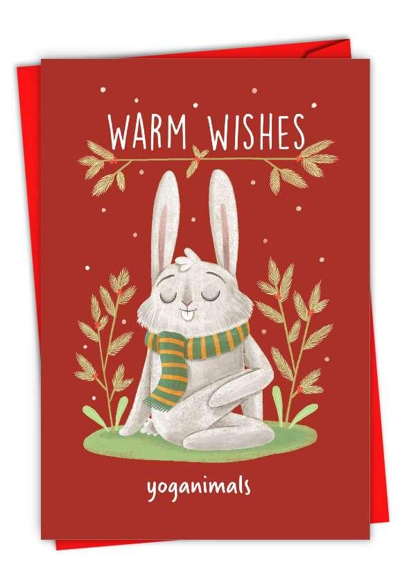 Holiday Yoganimals-Rabbit: Humorous Merry Christmas Paper Greeting Card