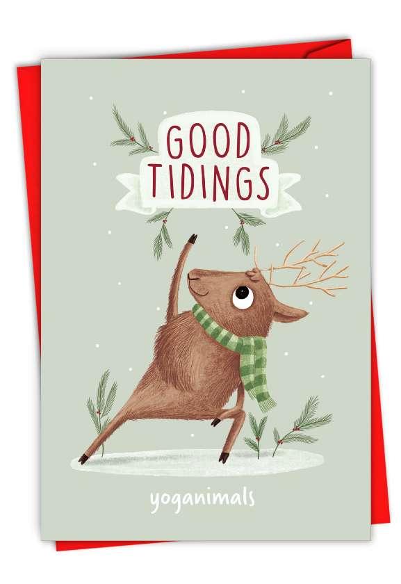 Holiday Yoganimals-Deer: Funny Merry Christmas Card