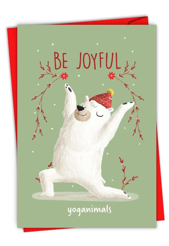 Holiday Yoganimals-Bear: Humorous Merry Christmas Paper Card