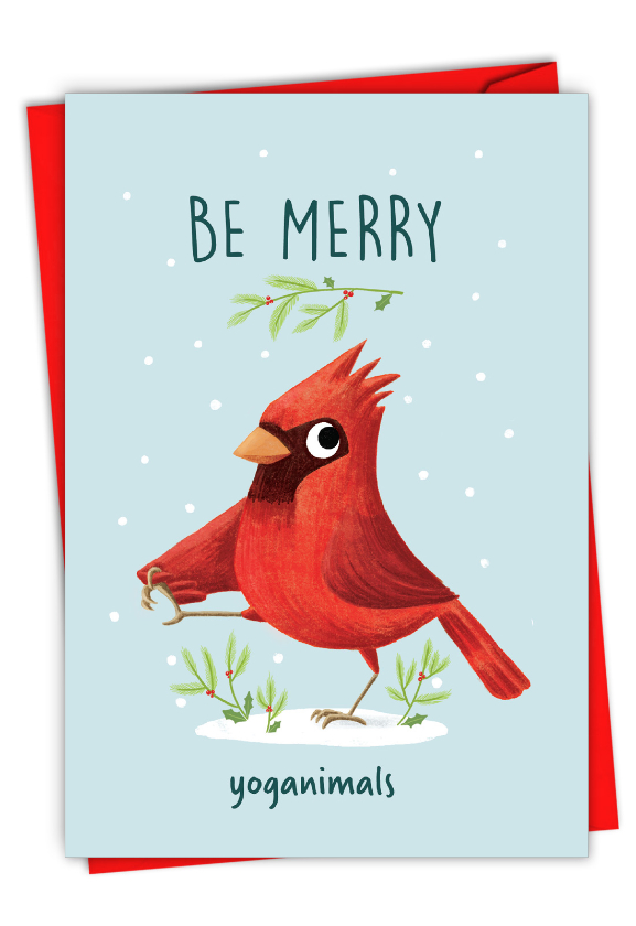 Holiday Yoganimals-Bird: Funny Merry Christmas Paper Greeting Card