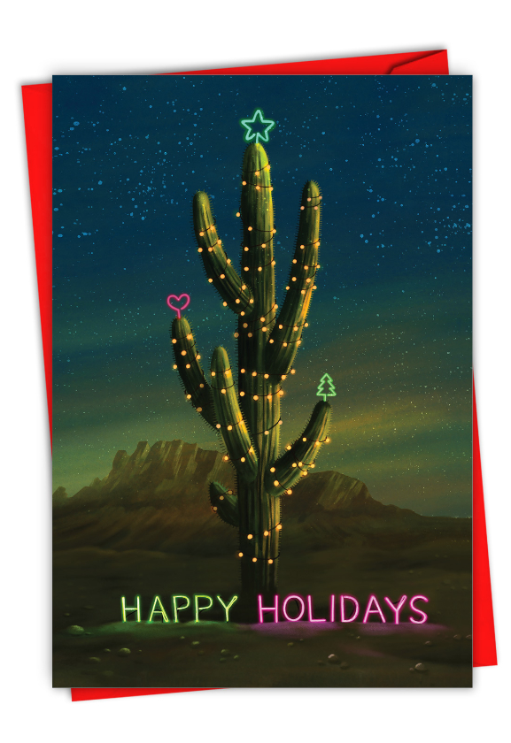 Neon Cactus: Hilarious Merry Christmas Printed Greeting Card