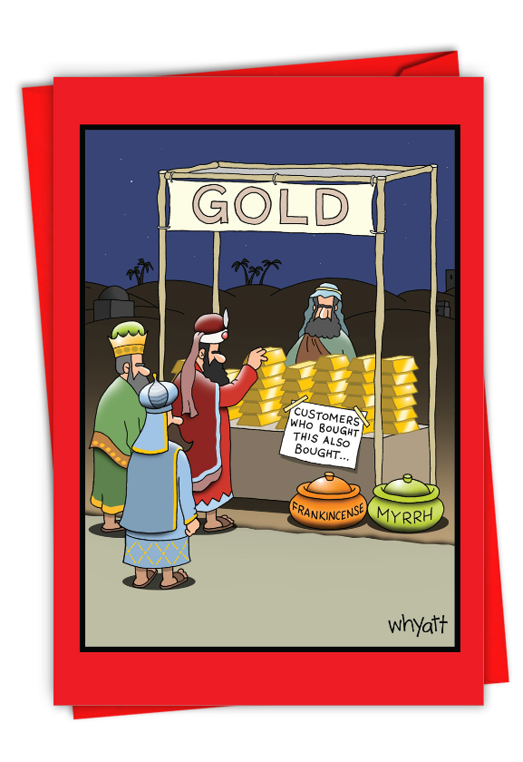 Humorous Merry Christmas Card By Tim Whyatt From NobleWorksCards.com - Gold Purchase