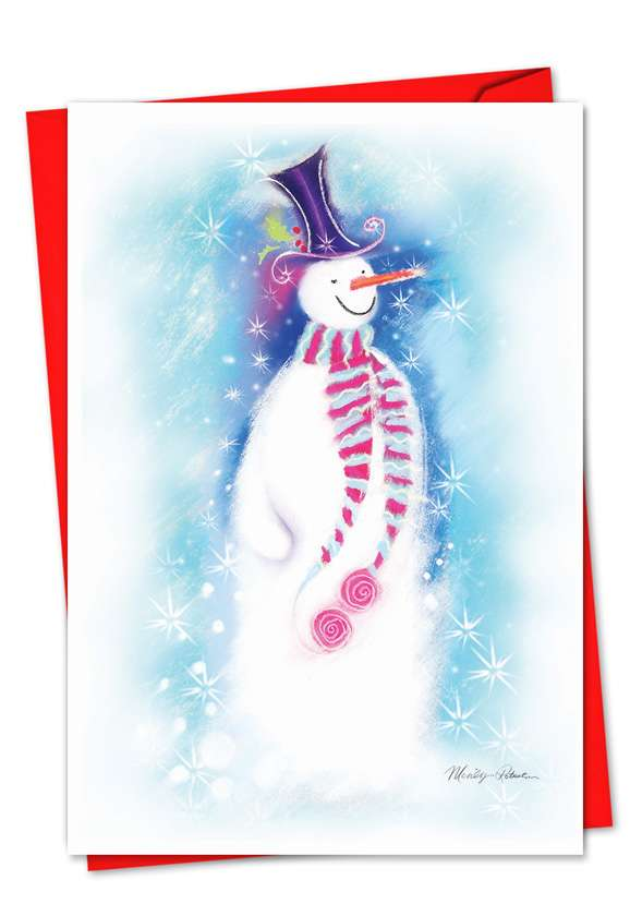Festive Snowmen: Creative Christmas Printed Greeting Card