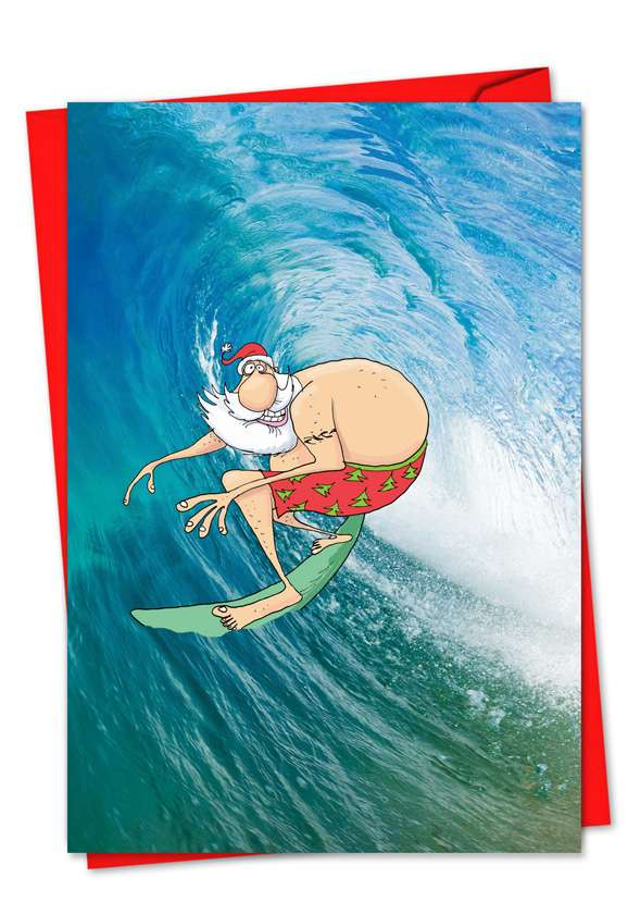 Surfing Santa: Creative Christmas Paper Greeting Card