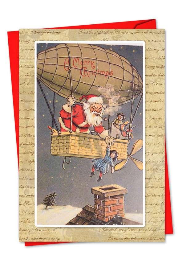 Holly Jolly Santa: Stylish Christmas Paper Card