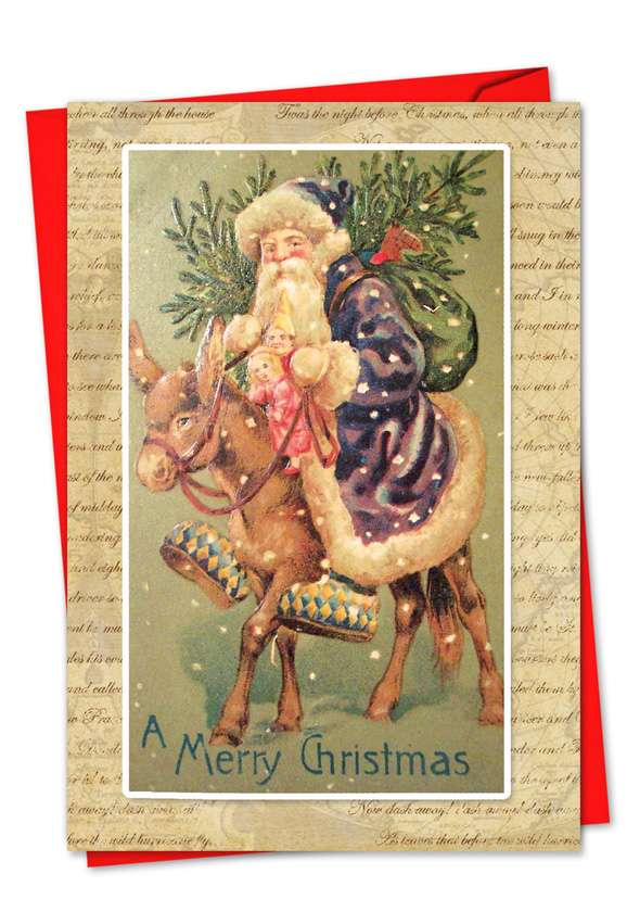 Holly Jolly Santa: Stylish Christmas Printed Card