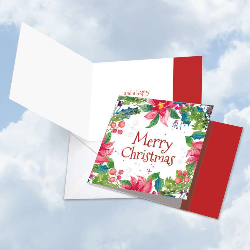 Wreath Greetings: Stylish Christmas Square-Top Greeting Card