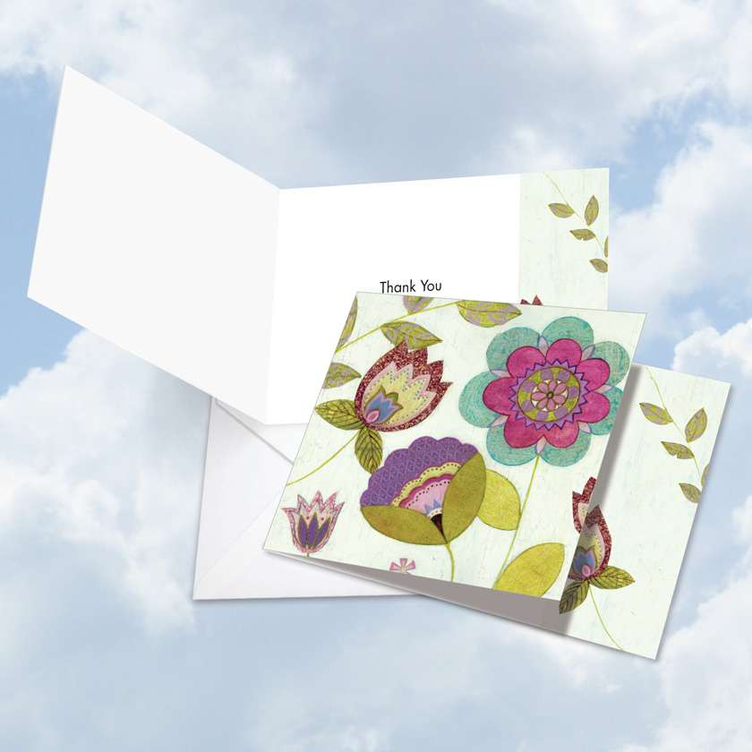 Patterned Petals: Creative Thank You Square-Top Printed Card