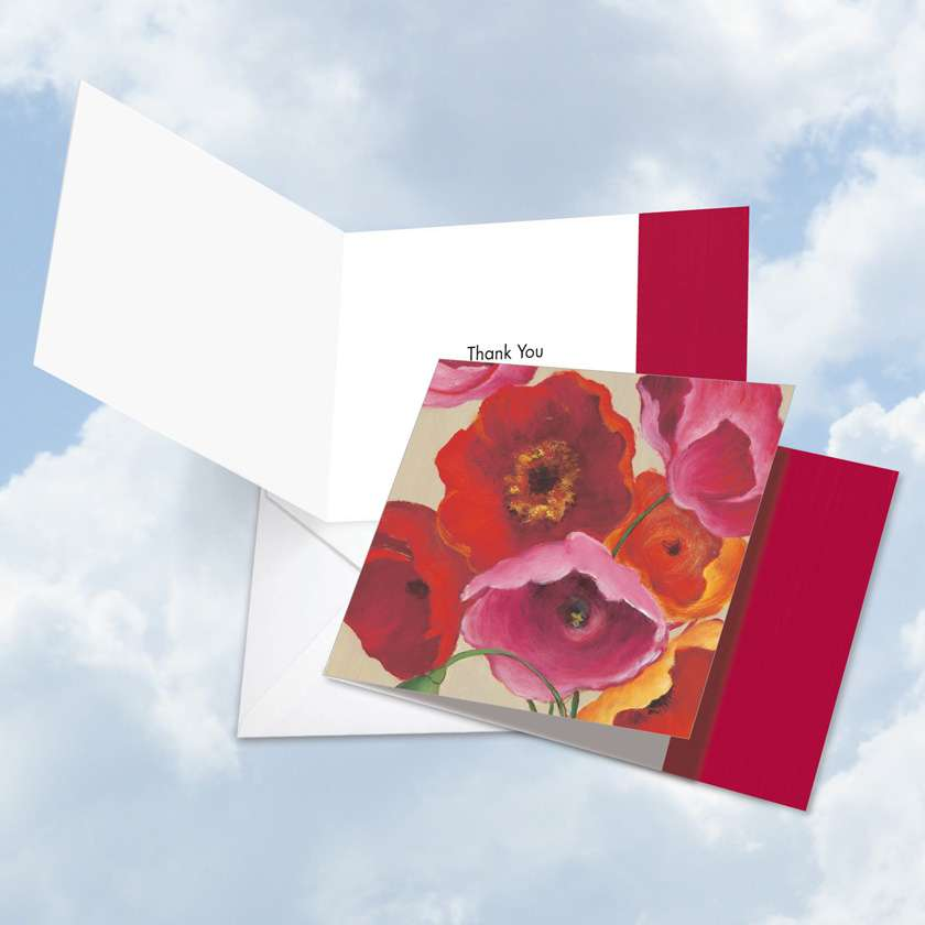 Painted Poppies: Stylish Thank You Square-Top Printed Card