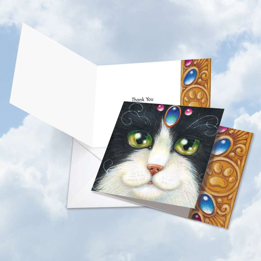 Fancy Felines Blue Tuxie: Stylish Thank You Square-Top Greeting Card