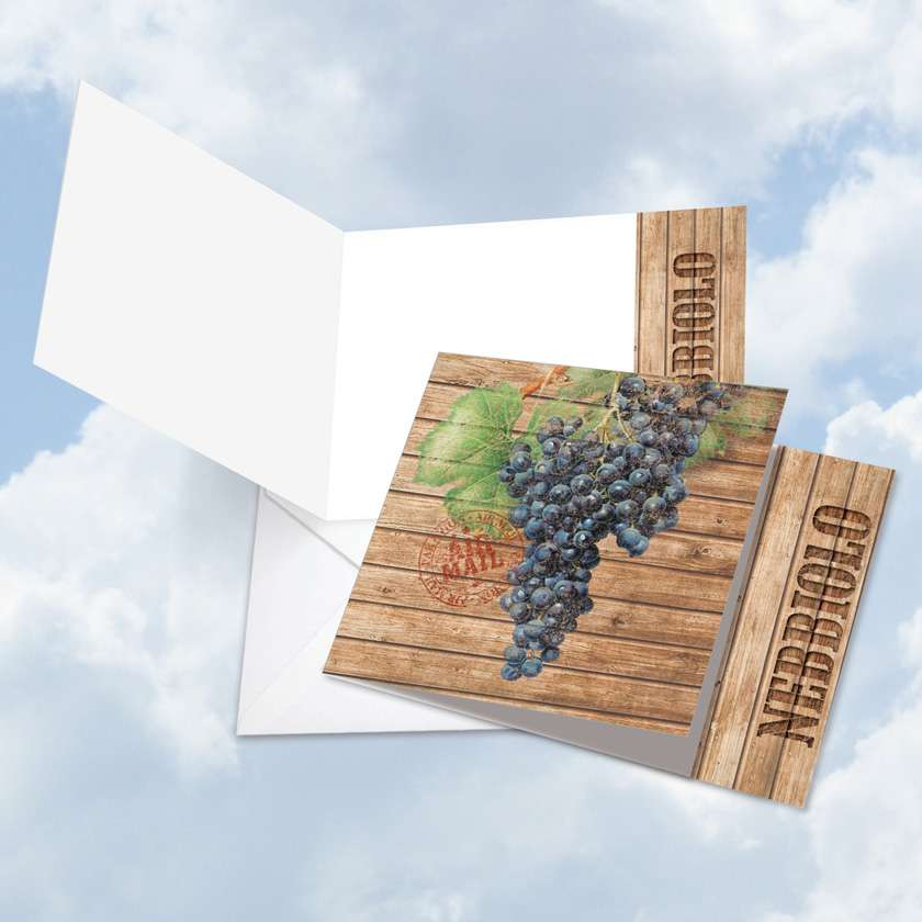 Through the Grapevine Nebbiolo: Stylish Blank Square-Top Paper Greeting Card
