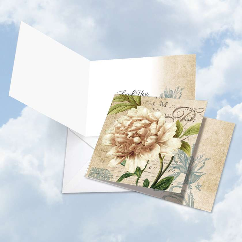 Painted Peonies: Creative Thank You Square-Top Printed Greeting Card