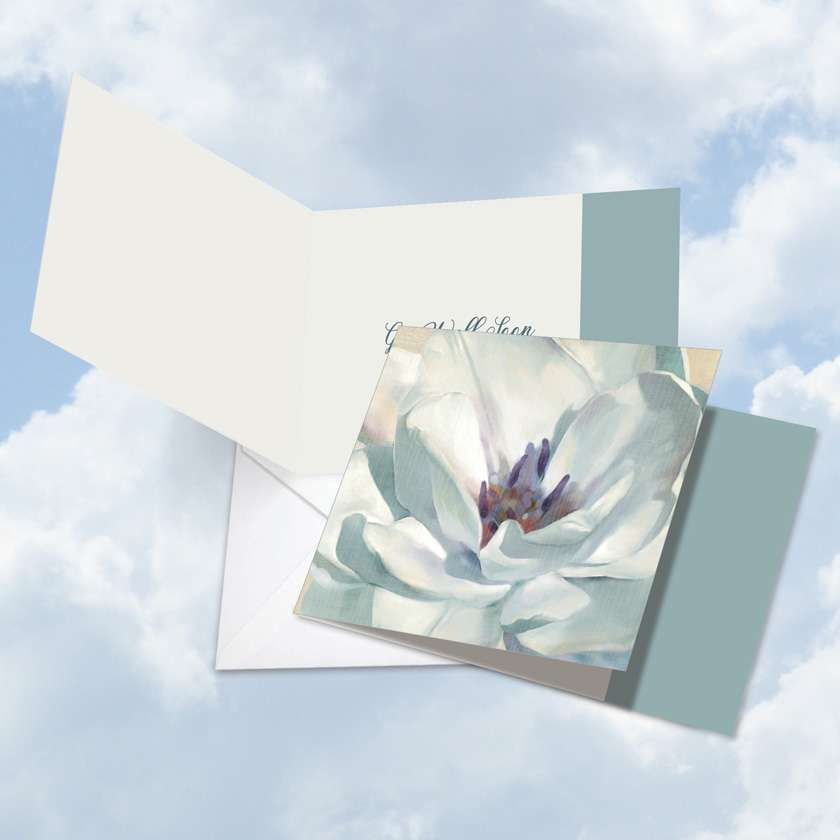 Peaceful Petals: Stylish Get Well Square-Top Printed Card