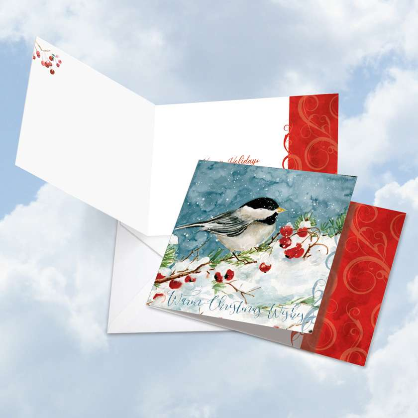 Season's Tweets: Creative Happy Holidays Square-Top Paper Card