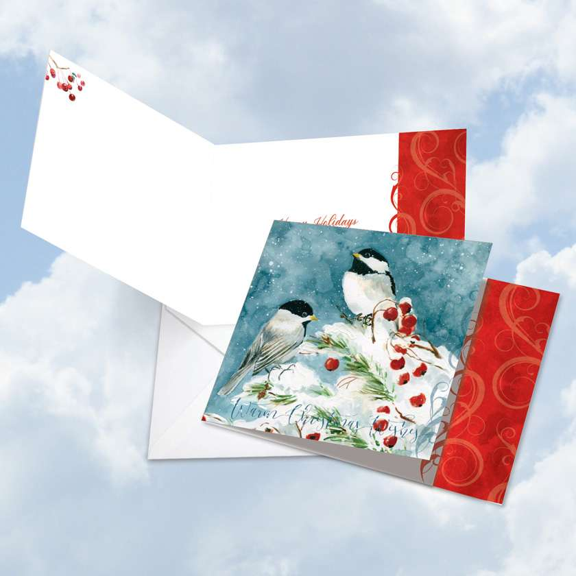 Season's Tweets: Stylish Happy Holidays Square-Top Greeting Card