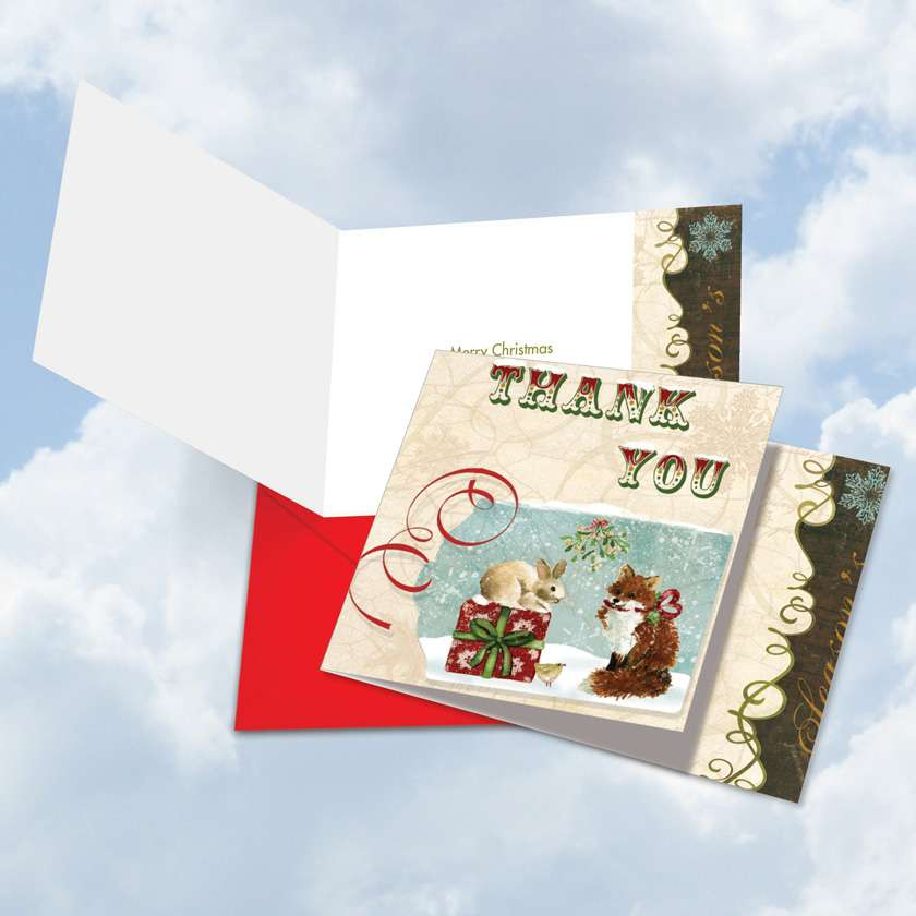 Christmas Cheer: Stylish Christmas Thank You Square-Top Greeting Card