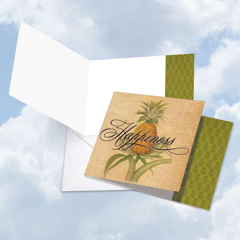 Pineapple Plenty Happiness Blank Square Card