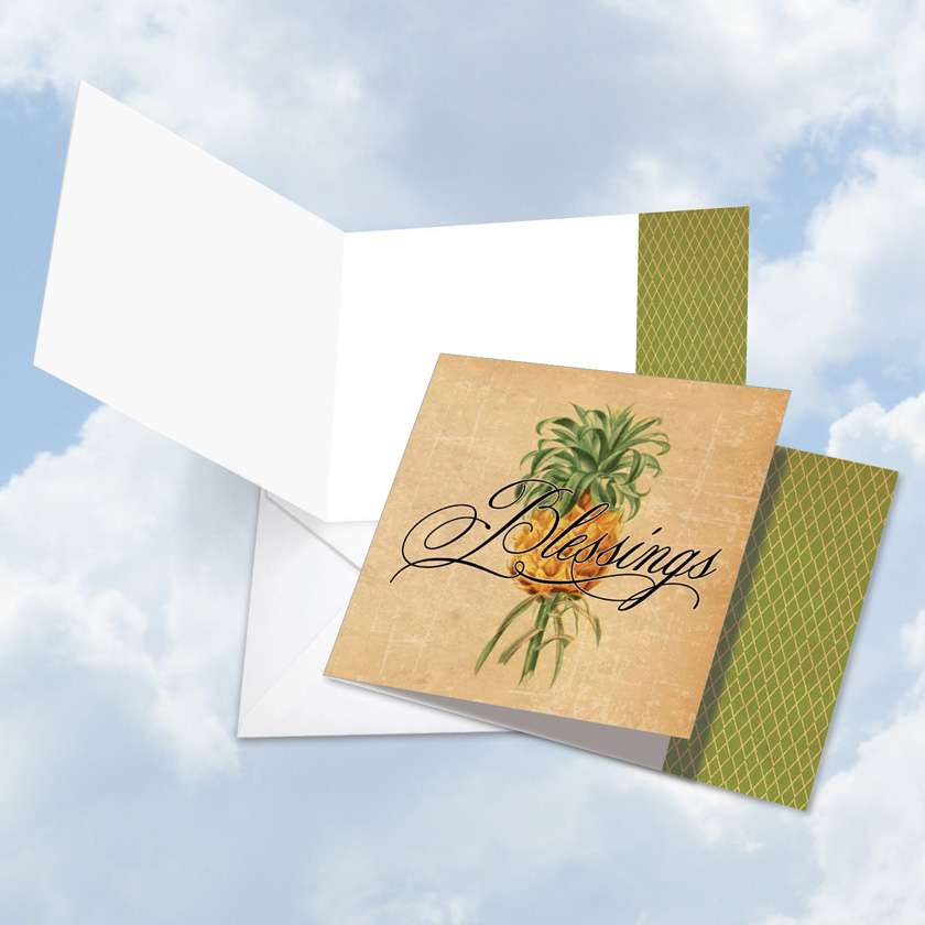 Pineapple Plenty Blessings Blank Square Card