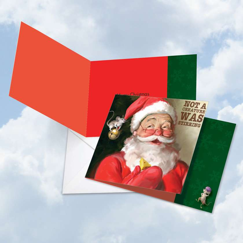 Santa Mouse Stirring: Creative Christmas Square-Top Paper Greeting Card