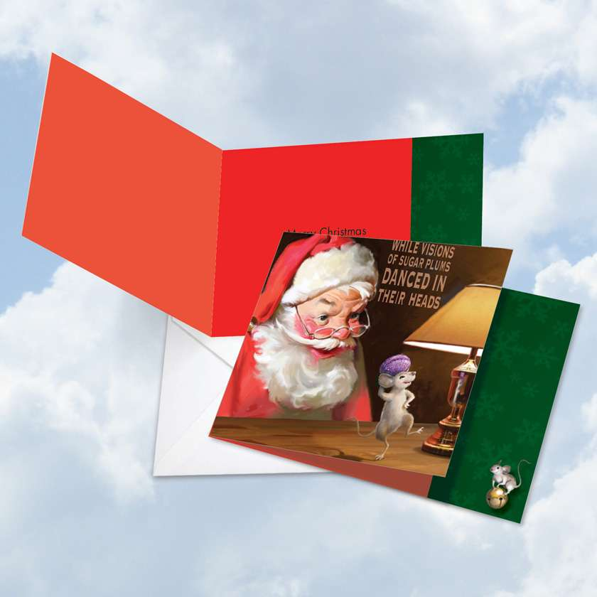 Santa Mouse Sugar Plums: Stylish Christmas Square-Top Printed Greeting Card