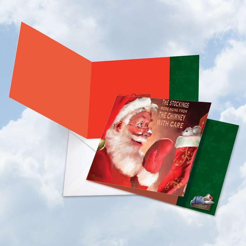 Santa Mouse Stockings Square Card