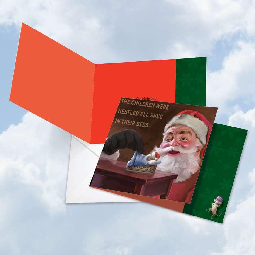 Santa Mouse Snug: Stylish Christmas Square-Top Greeting Card
