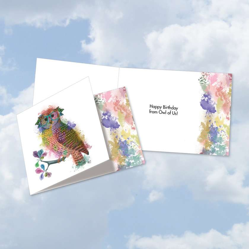 Funky Rainbow Wildlife-Owl From Us: Creative Birthday Square-Top Greeting Card