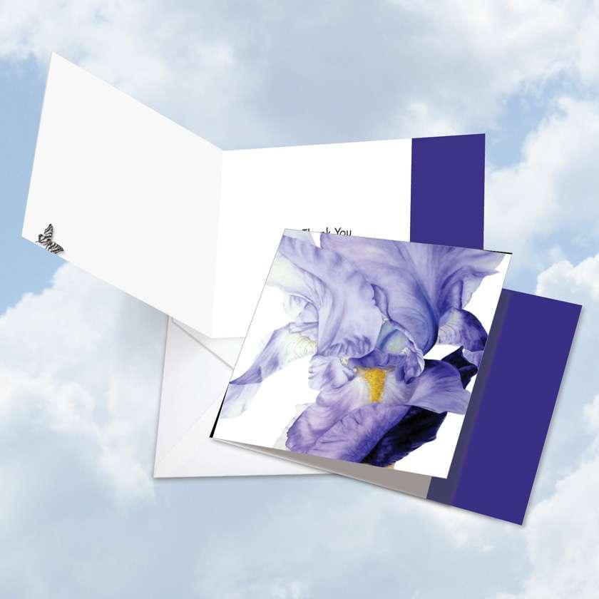 Iridescent Iris: Creative Thank You Square-Top Greeting Card