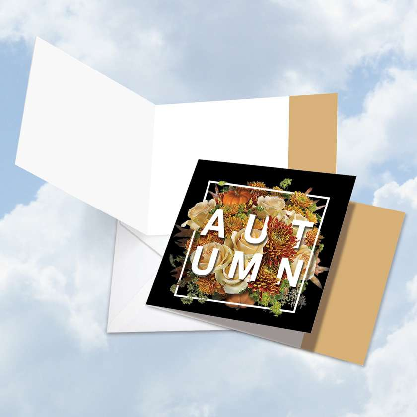 4 Season's Greetings - Autumn Blank Square Card