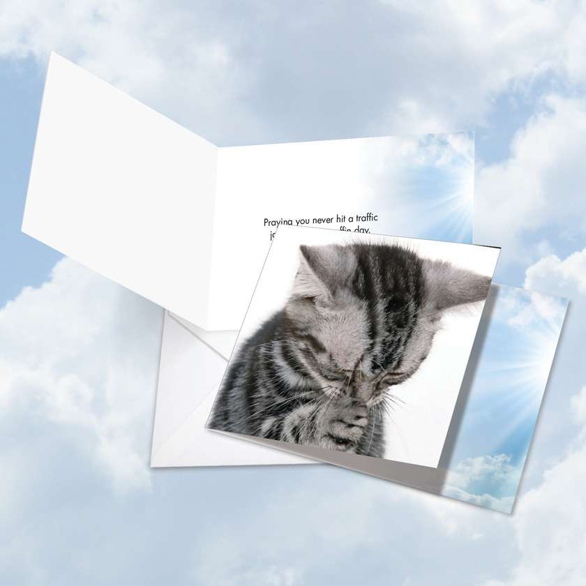 Paws and Prayers Traffic Jam: Funny All Occasions Square-Top Paper Greeting Card