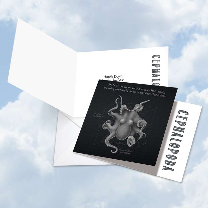 Octo-Facts Learn: Creative Thank You Square-Top Printed Greeting Card