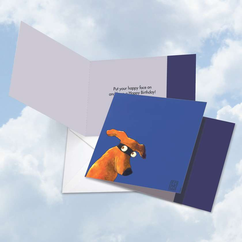 Masked Hounds Side Eye: Creative Birthday Square-Top Greeting Card
