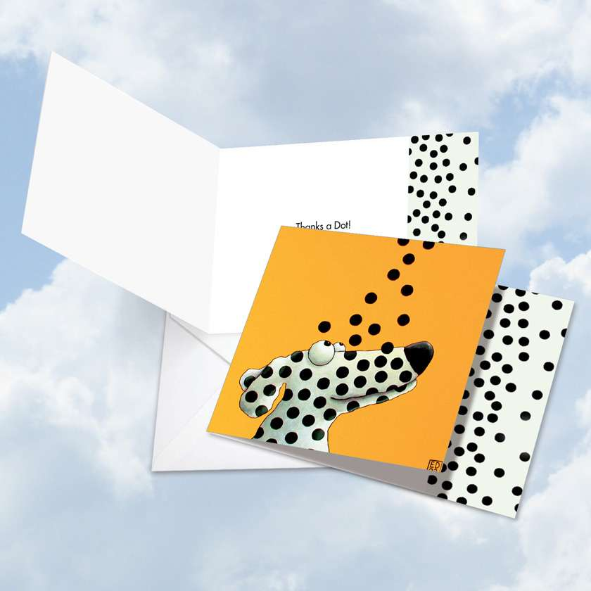 See Spot Dots: Stylish Thank You Square-Top Greeting Card