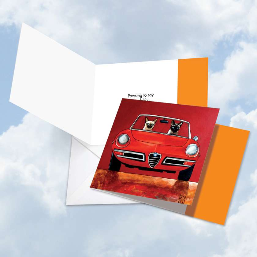 Siamese Car Cats: Stylish Thank You Square-Top Printed Greeting Card