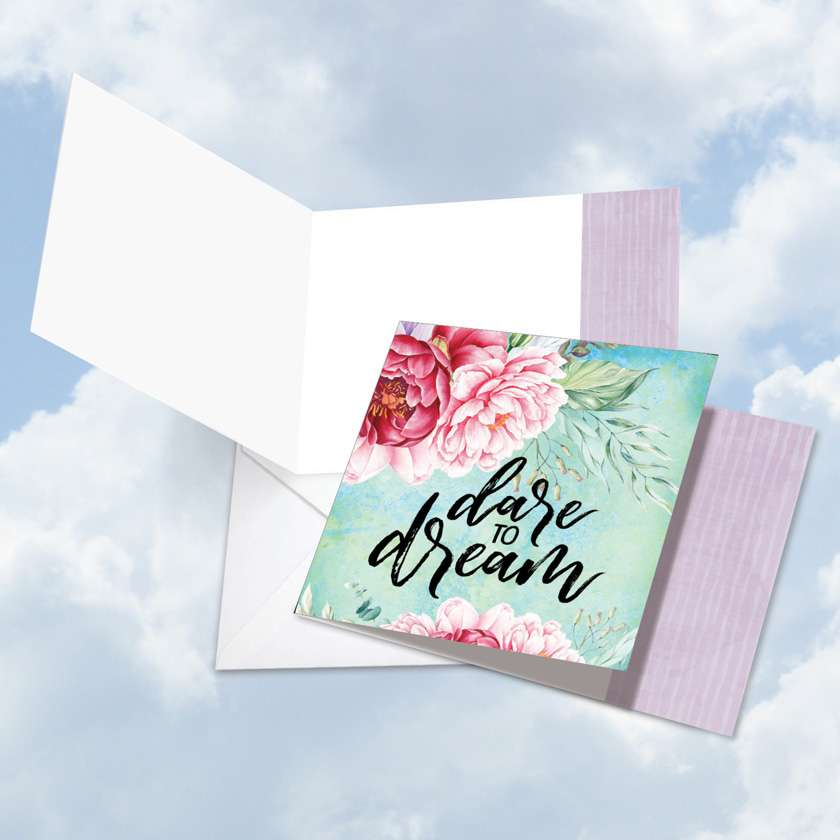 Words of Encouragement Dare to Dream: Stylish Blank Square-Top Paper Greeting Card