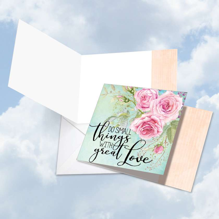 Words of Encouragement Great Love: Creative Blank Square-Top Printed Greeting Card