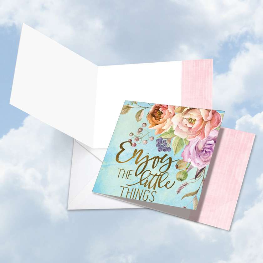 Words of Encouragement Little Things: Stylish Blank Square-Top Paper Card