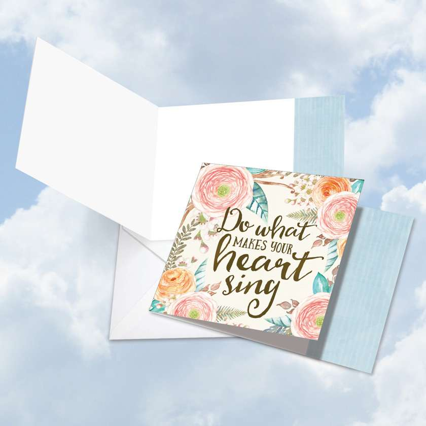Words of Encouragement Heart Sing: Stylish Blank Square-Top Printed Card