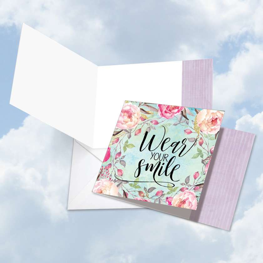 Words of Encouragement Smile: Creative Blank Square-Top Paper Greeting Card