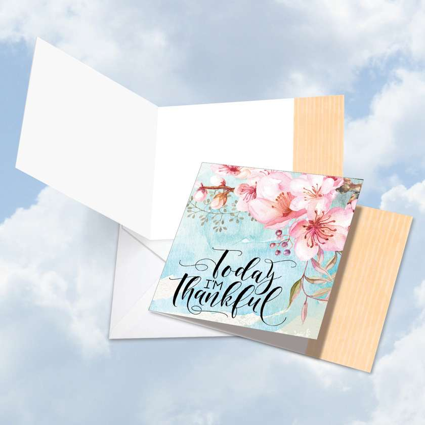 Words of Encouragement I'm Thankful: Stylish Blank Square-Top Greeting Card