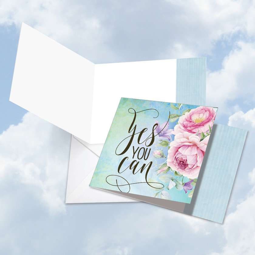 Words of Encouragement Yes You Can: Creative Blank Square-Top Printed Card