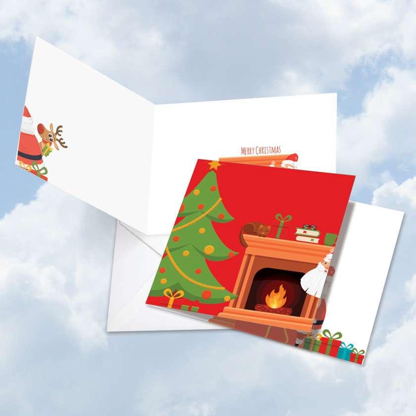 Christmas Peeking: Creative Christmas Square-Top Printed Card