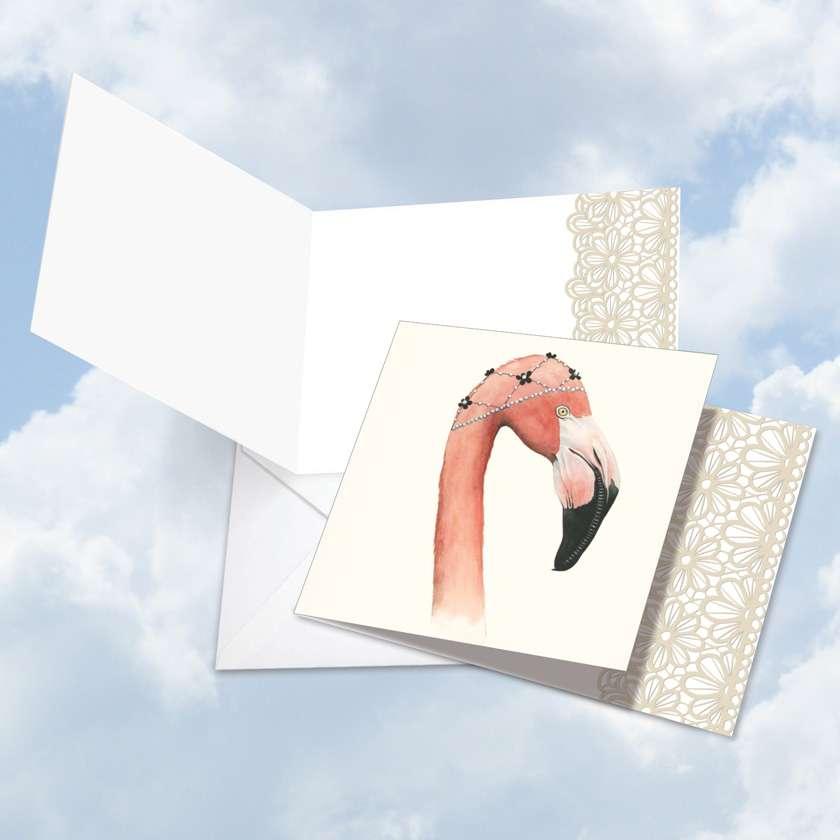 Wildlife Glamour Flamingo Blank Square Card