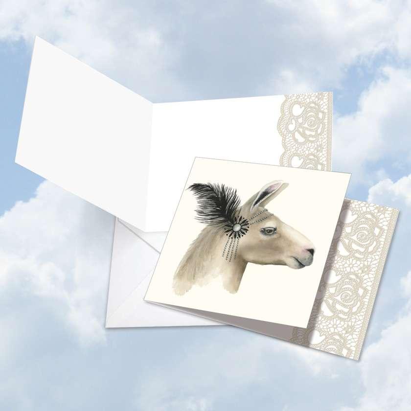 Wildlife Glamour Llama Blank Square Card