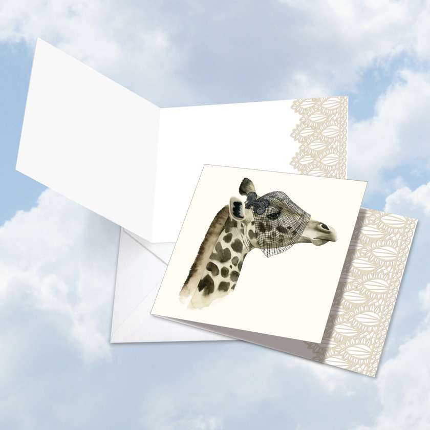 Wildlife Glamour Giraffe Blank Square Card