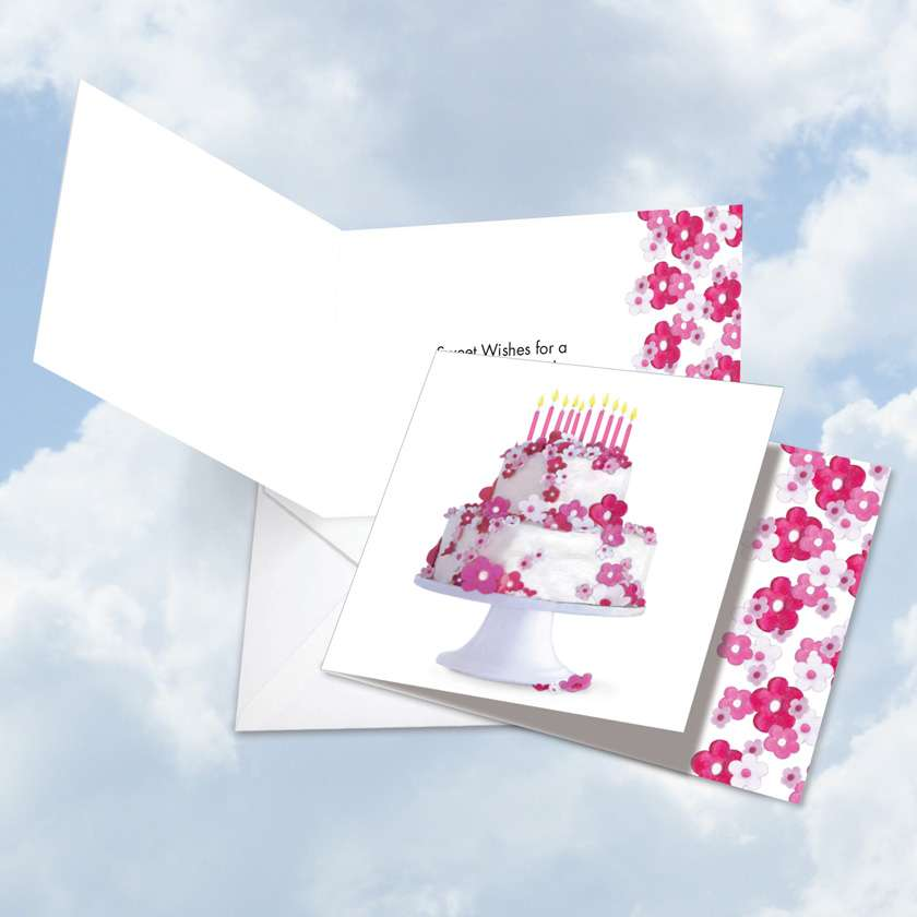 Stylish Birthday Square Greeting Card by Deborah Koncan from NobleWorksCards.com - Flower Cake