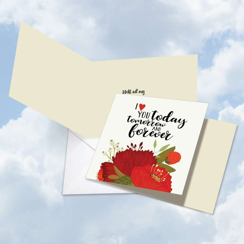 Love You Today: Stylish Valentine's Day Square-Top Paper Greeting Card